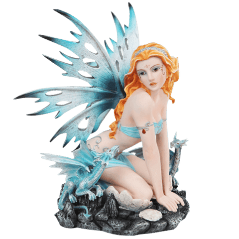 Pale Blue Fairy and Dragon Statue