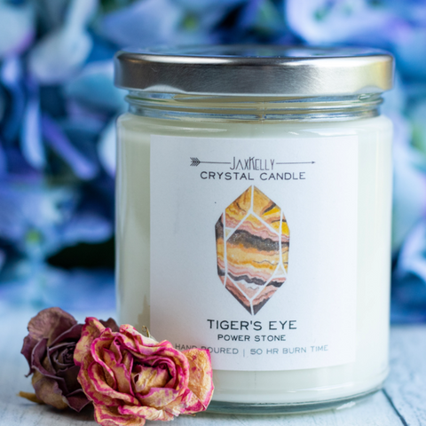 Tigers Eye Hidden Crystal Candle - Power