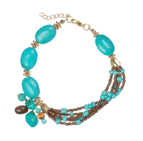 Faux Turquoise Accents Jewelry - Beaded Turquoise & Copper Bracelet
