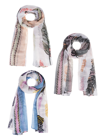 Feather Scarf Multi color