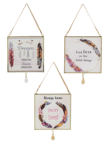 Feathers - Hanging Glass Plaques 3 styles to choose from