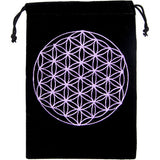 New! Embroidered Flower of Life Velvet Bag for Crystals, Cards and more!