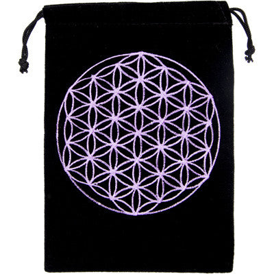 New! Embroidered Flower of Life Velvet Bag for Crystals, Cards and more! - Cast a Stone