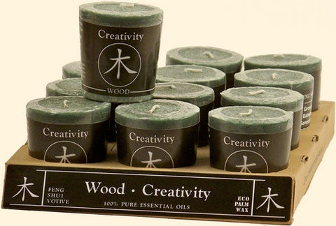 Wood - Creativity Feng Shui Votive Candle - Cast a Stone