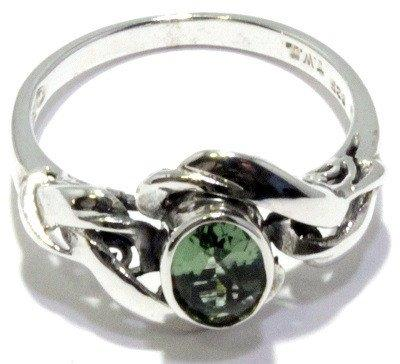 Faceted Oval Moldavite Ring