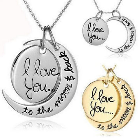 I Love you to the Moon and Back Pendant Necklace - Cast a Stone