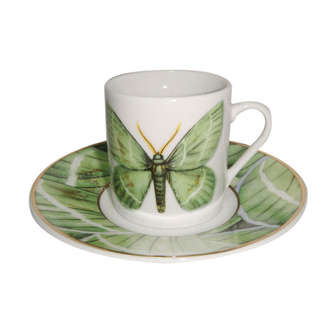 Green Butterfly Espresso Cups and Saucers, Set of 4, Gift Boxed