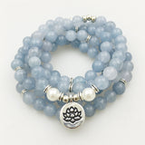 Blue Chalcedony Lotus Symbol Pendant Mala Necklace/Bracelet Prayer & Yoga Beads