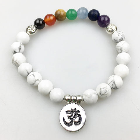 White Howlite and Chakra bead Bracelet with charm for men or women!