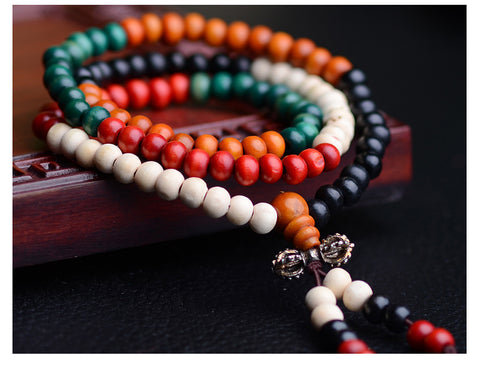 Japa Mala colorful Sandalwood 6mm 108 Beads Stretch Bracelet Necklace