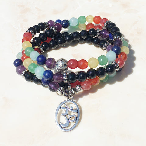 7 Chakra + Black Obsidian OM Symbol Pendant Mala Necklace/Bracelet Prayer & Yoga Beads