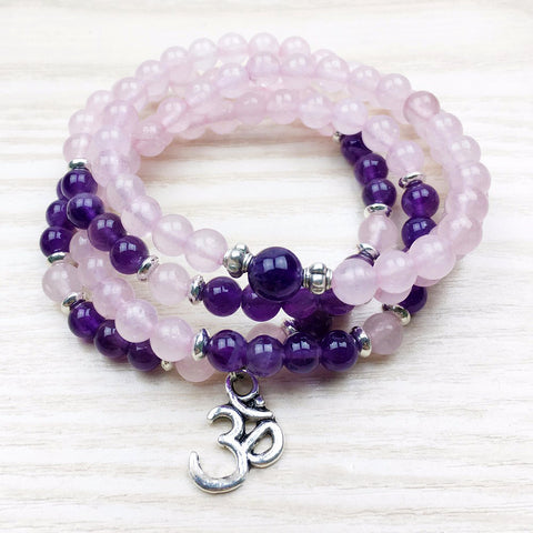 Amethyst and Rose Quartz OM Symbol Pendant Mala Necklace/Bracelet Natural Stone Prayer & Yoga Beads