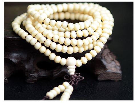 Japa Mala CHOOSE from 2 Colors Natural Sandalwood 6mm 216 Beads Buddhist Prayer Mala Wood Beaded Necklace/Bracelet