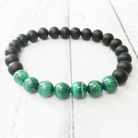 AAA Grade Malachite and Matte Black Onyx Energy Bracelet 8 mm