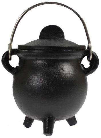 Black cast iron cauldron w/ lid 3""