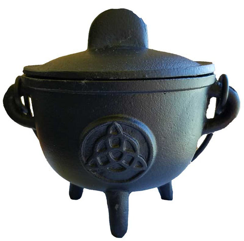 Cast iron cauldron w/ lid Triquetra 5""