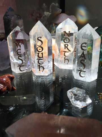 Limited Edition Sale! Polished Clear Quartz Points Altar Directionals set of 4 - Cast a Stone