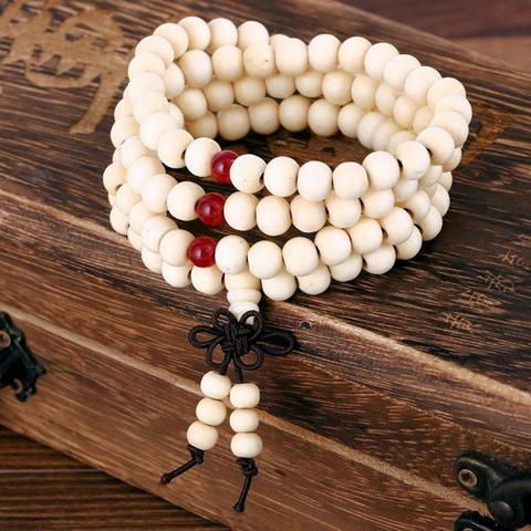 Japa Mala CHOOSE from 4 Colors Sandalwood 6mm 108 Beads Stretch Bracelet Necklace w/ Infinite Knot Tassel