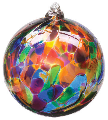 Calico Ball- Festival Multi hand blown Art Glass Ornament - Cast a Stone