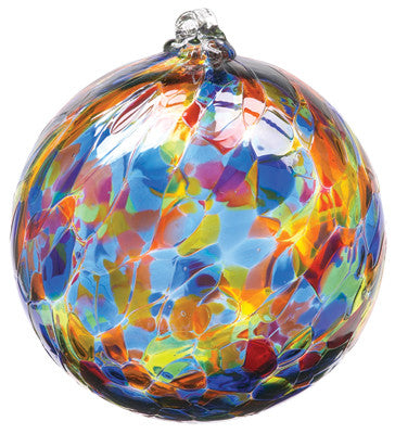 Calico Ball- Sunny Sky hand blown Art Glass Ornament - Cast a Stone