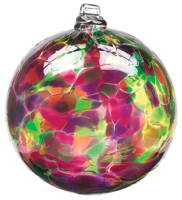 Calico Ball- Winter Carnival hand blown Art Glass Ornament - Cast a Stone