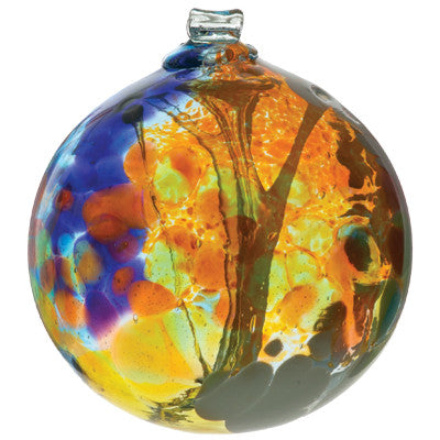 Fairy Orb in Amber hand blown Art Glass Ornament