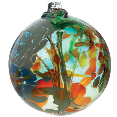 Fairy Orb in Orange hand blown Art Glass Ornament