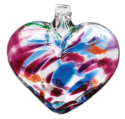 Heart of Glass Multi color hand blown Art Glass Ornament
