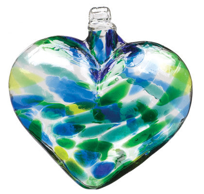 Heart of Glass Oceania color hand blown Art Glass Ornament