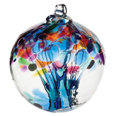 "Tree of Enchantment Ball -Caring 2"" hand blown Art Glass Ornament - Cast a Stone"