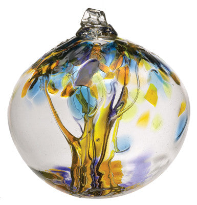 "Tree of Enchantment Ball -Joy 2"" hand blown Art Glass Ornament - Cast a Stone"