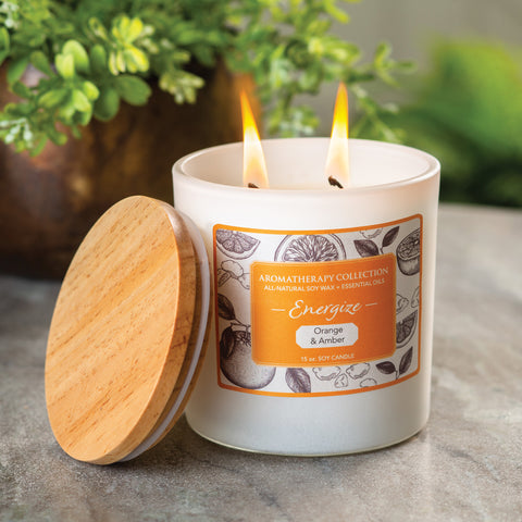 Energize Orange & Amber Aromatherapy Candle 15 Oz