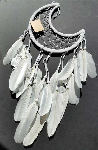 White Half Moon Dreamcatcher - 8 1/2""