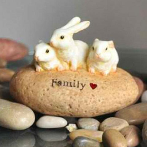 "Rabbit Stone - ""Family"" Fairy Garden Figurine"