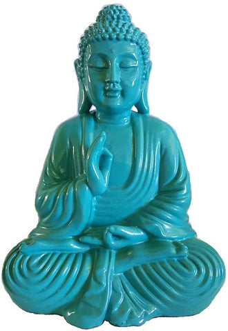 "Turquoise Buddha Statue 7 3/4"" - Cast a Stone"