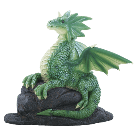 Curious Green Dragon on Rock Statue