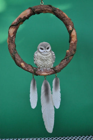 Sleeping Gray Owl Dreamcatcher