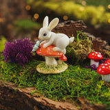 Bunny on Mushroom with Butterfly Figure