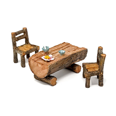 Mini Fairy Garden Wooden Table and Chairs Set