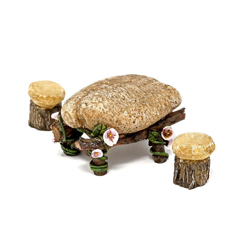 Mini Fairy Garden Stone Table and Chairs Set