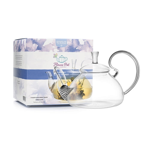 Elegant Glass Teapot and Warmer Combo