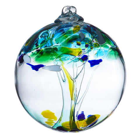 "Tree of Enchantment Ball -Unity 6"" hand blown Art Glass Ornament"