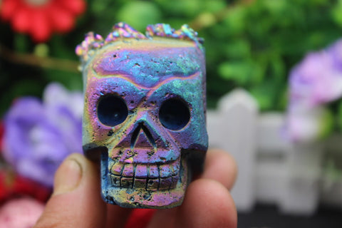 Titanium Quartz point Crystal Skull 4 - Cast a Stone