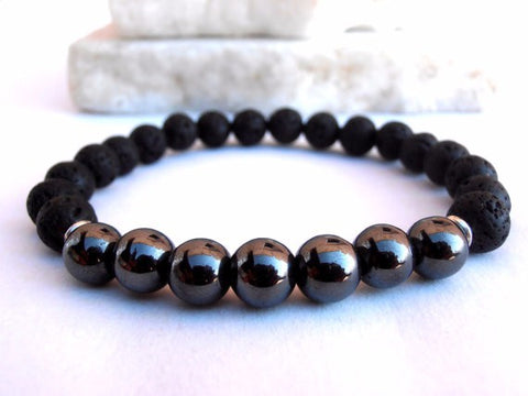 Hematite and Lava Bead Bracelet for men or women!