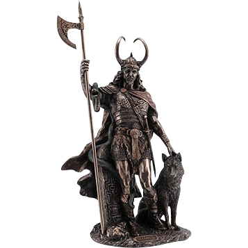 Trickster God Loki with Fenrir Statue