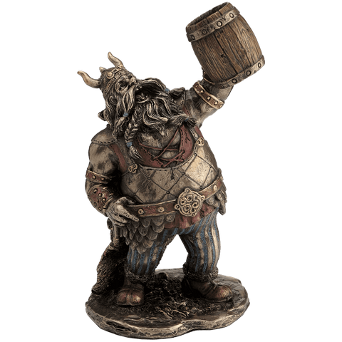 Viking Warrior Toasting with Wooden Mug Statue