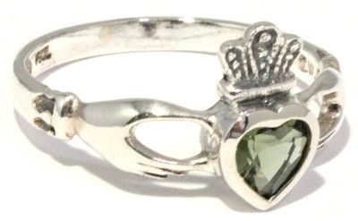 Claddagh Moldavite Ring