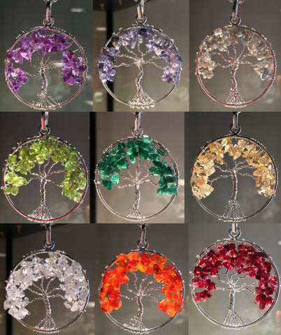 NEW! Choose your stone - Chakra Tree of Life Pendants - Cast a Stone