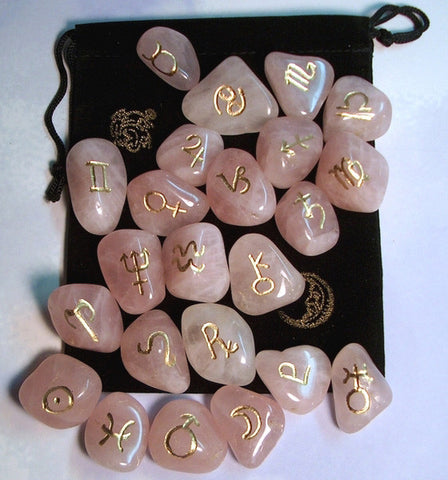 Rose Quartz Astrology Set of 24 - Cast a Stone