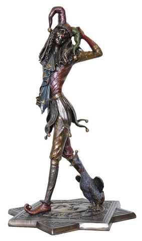 Bronze Jester Figure, Walking with Duck